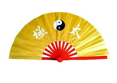"""13/""""Chinese Kung Fu TaiChi Wushu Martial art Show Dance Gold Bone Gold Peony fan"""