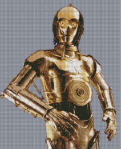 Star Cross stitch chart CP3O pattern C3PO Starwars Droid C-3PO Wars