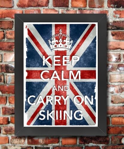 KC2 Framed Vintage Style Union Jack Keep Calm Carry On Skiing Funny Poster A3//A4