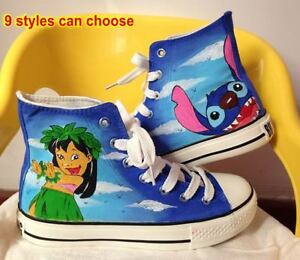 dad00120e14c8 Details about Lilo and Stitch Pattern Kids Children Girl Boy Hand-painted  Canvas Shoes Sneaker