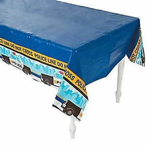POLICE PARTY Table Cover Do Not Cross Disposable Plastic Tablecloth Free Postage