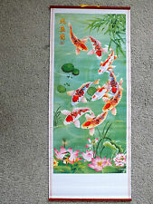 CHINESE CANE BAMBOO WALL HANGING SCROLL KOI CARP FISH PICTURE BIRTHDAY PARTY Y5