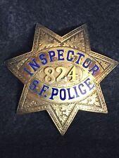 INSPECTOR- SAN FRANCISCO  POLICE BADGE #824 HALLMARKED IRVINE AND JACHENS