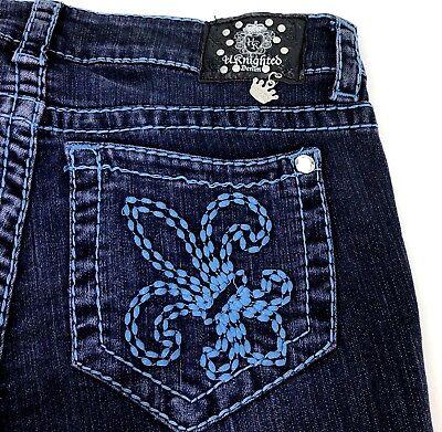 NEW UKnighted Royal Denim Body Contour Embroidered Fleur-de-lis Jean Size 10 $89