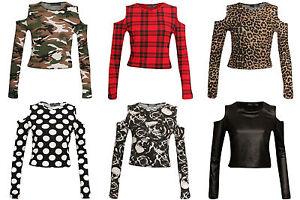 New-Women-039-s-ladies-Cold-Cut-Shoulder-Crop-Ladies-Printed-Long-Sleeve-T-Shirt-Top