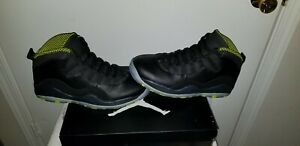 hot sale online 104cd 1a04c Details about Air Jordan 10 Retro Mens Size 10 Black Venom Green Basketball  Shoes