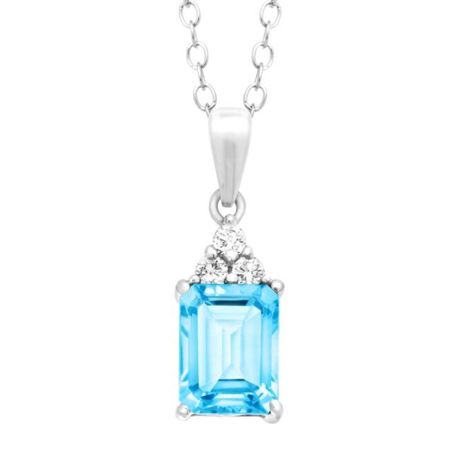 2 1/8 ct Natural Swiss Blue and White Topaz Pendant in Sterling Silver, 18""