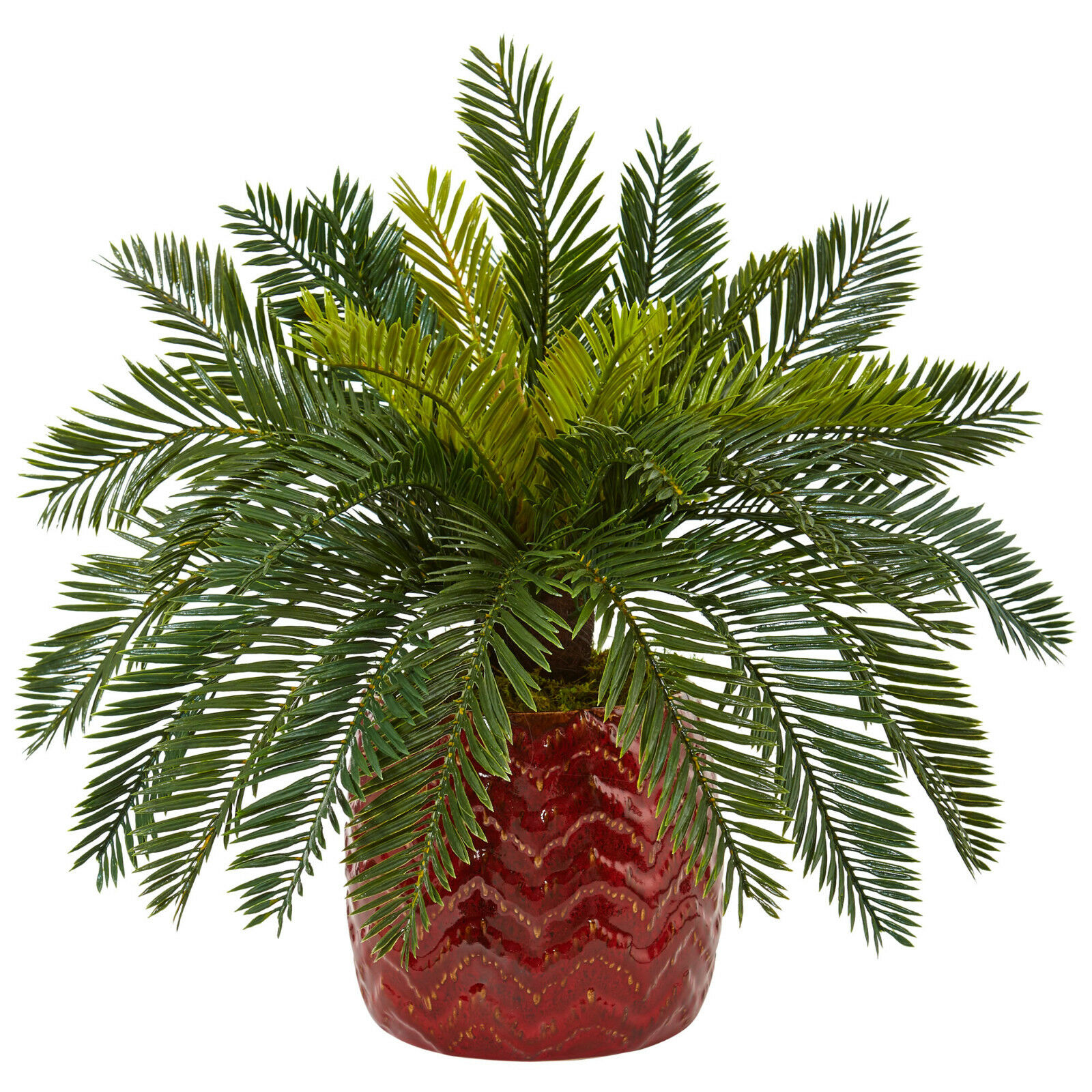 15  Cycas in rot Decorative Ceramic Planter High Quality Kunstificial Silk Plant