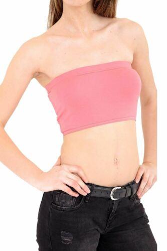 Femme Mesdames stretch Boob Tube Sans Bretelles Bandeau Soutien-gorge laisse Gilet Crop Top UK 8-14