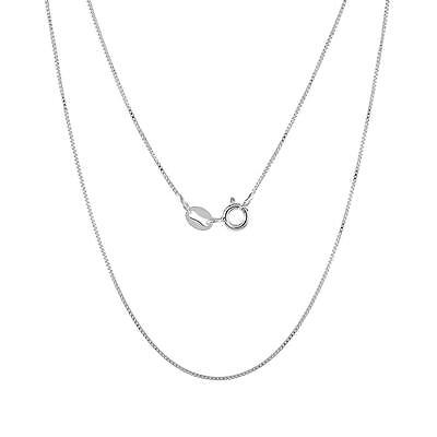 Black Rhodium over Sterling Silver 0.7mm Box Chain Necklace Made in Italy