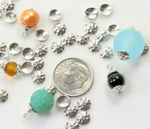 7012 10 Pieces Silver Plated Pewter 5mm TierraCast Leaf Bead Caps
