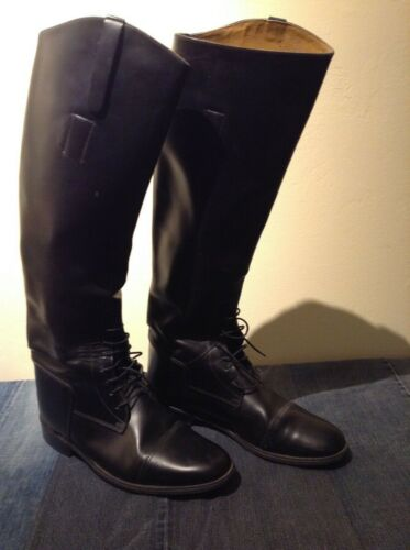 Tall Marlborough Black Leather Horse Riding Boots