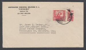 Bolivia-Sc-261-Bisect-on-1939-Cover-to-Atlas-Powder-Co-Wilmington-Delaware