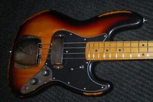 Fender-Jazz-Bass-034-62-034-Sunburst-Stack-Knob-039-Hot-Rod-039-034-Relic-034-All-New-Parts