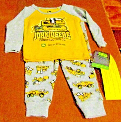 John Deere boys yellow long w//gray sleeves top /& gray bottoms w//dozers PJs