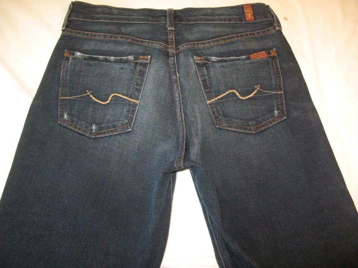 7 für Alle Herren Bequemer Jeans Sz 30 X 28 Dunkel Distressed Wash100% Baumwolle  | Shop
