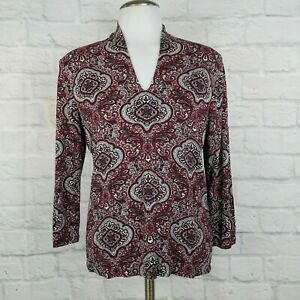 Talbots-Women-039-s-Small-Paisley-Top-Red