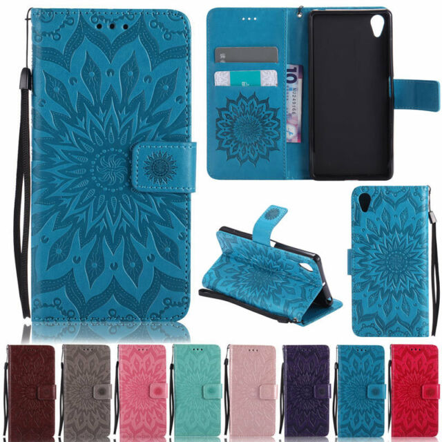 Sunflowers Embossed Card Holder Wallet PU Leather Flip Stand Case Cover For Sony