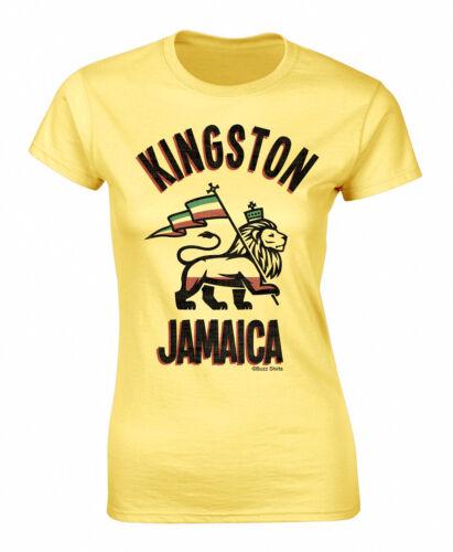 Womens Kingston Jamaica Rastafari T-Shirt Football World Cup 2019 Reggae Rasta