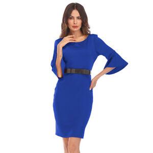 0fb230fb2a6c Caricamento dell'immagine in corso Elegante-vestito-abito-maniche-tubino-blu -corto-slim-