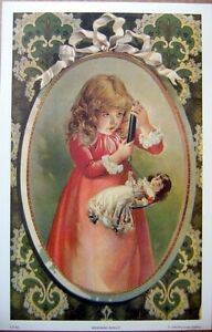art-print-WEIGHING-DOLLY-Victorian-Little-Girl-with-Scale-doll-vtg-repr-9-5x14-5