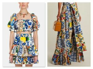 great variety models purchase cheap aliexpress Details about Dolce And Gabbana Majolica Bardot Crop Top And Skirt You  Choose