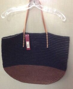 Details About New Merona Target Leather Straw Beach Tote Bag Purse Black Brown
