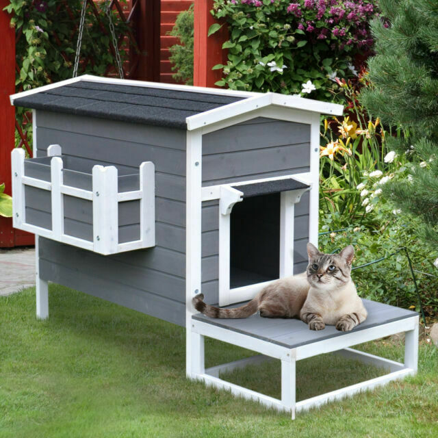 Pawhut Wooden Large Deluxe Elevated Indoor Outdoor Cat Dog House With Porch For Sale Online Ebay