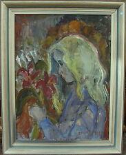 Sonja Klöfving-Larsson *1923, Mädchen mit Blumenstrauss, datiert 1945