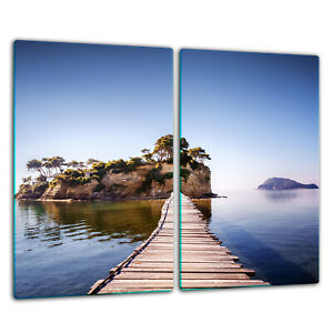 Herdabdeckplatten Ceranfeldabdeckung Spritzschutz Glas 2x30x52cm Salz