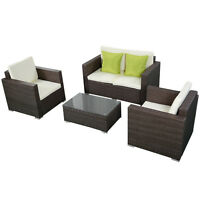 4pc Brown Wicker Rattan Sofa Furniture Set Patio Garden Lawn Cushioned Seat on sale