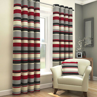 STRIPED RING TOP FULLY LINED PAIR EYELET READY MADE CURTAINS BLACK RED CREAM