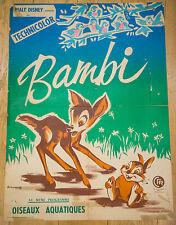 EXTREMEMENT    RARE !! Affiche de cinéma : BAMBI de DAVID D. HAND - WALT DISNEY