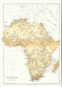 1878 Color Map of AFRICA Before European Colonization   Great