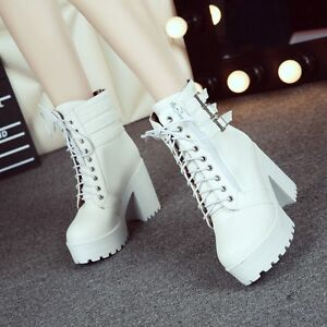 Womens-Buckle-Punk-Ankle-Boots-Chunky-Punk-platform-High-Heel-Lace-Up-Shoes-Sz