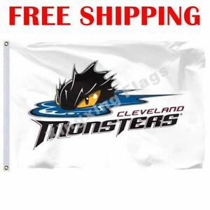 Cleveland-Monsters-Logo-Flag-AHL-American-Hockey-League-2018-Banner-3X5-ft