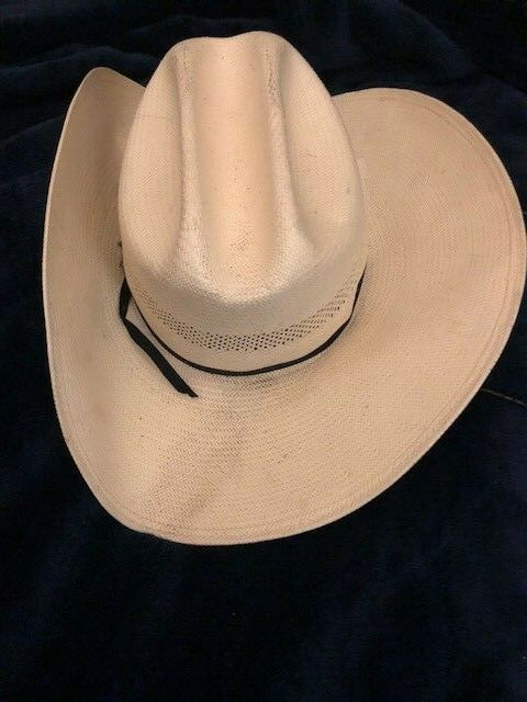 a545e37963f7b Stetson Cowboy Vented Straw Hat 55 6 7/8 Horsehair Rodeo Chin Strap JBS pin  Vent   eBay