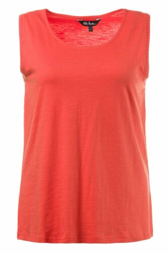 ULLA POPKEN FASHION Top mit Stickerei am Halsloch orange NEU