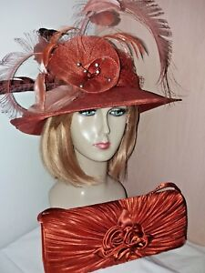 Image is loading Rust-Orange-Sinamay-Hat-amp-Bag-Set-Weddings- 851c227ec3ac