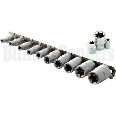 "10PC E Star Socket Set Torx Torq Torque Female 1//4/"" /& 3//8/"" Drive Storage Rail"