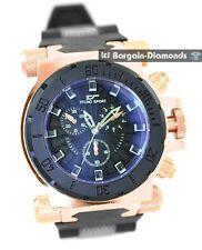 mens heavy rose gold clubbing watch black dial rose gold black strap designer