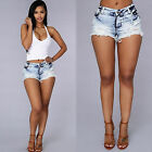 HT Women's Girls Sexy Pants Summer Beach Casual Short Jeans High Waist Shorts