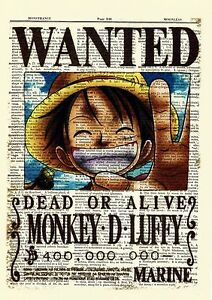 One piece luffy anime dictionary art print poster wanted picture manga book ebay - One piece wanted luffy ...