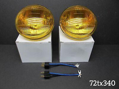 5-3//4 AMBER GLASS SEALED HIGH BEAM HEADLIGHT set FOG LIGHT HEADLAMP BULBS PAIR