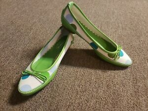 Coach Talia P567 Shoes Green Leather with Polka Dot Canvas. SZ 6B Made in Italy
