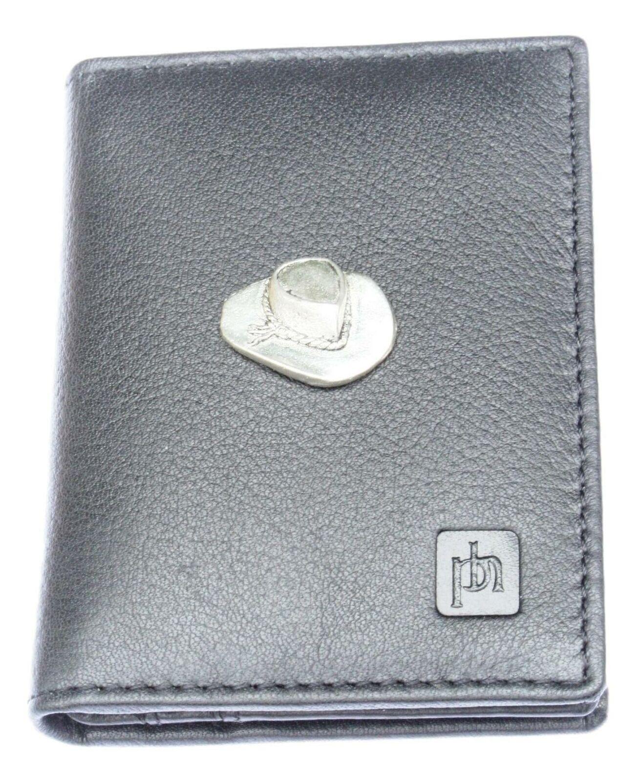 Cowboy Hat Bifold Card Holder Leather Black Wallet RFID Safe 85