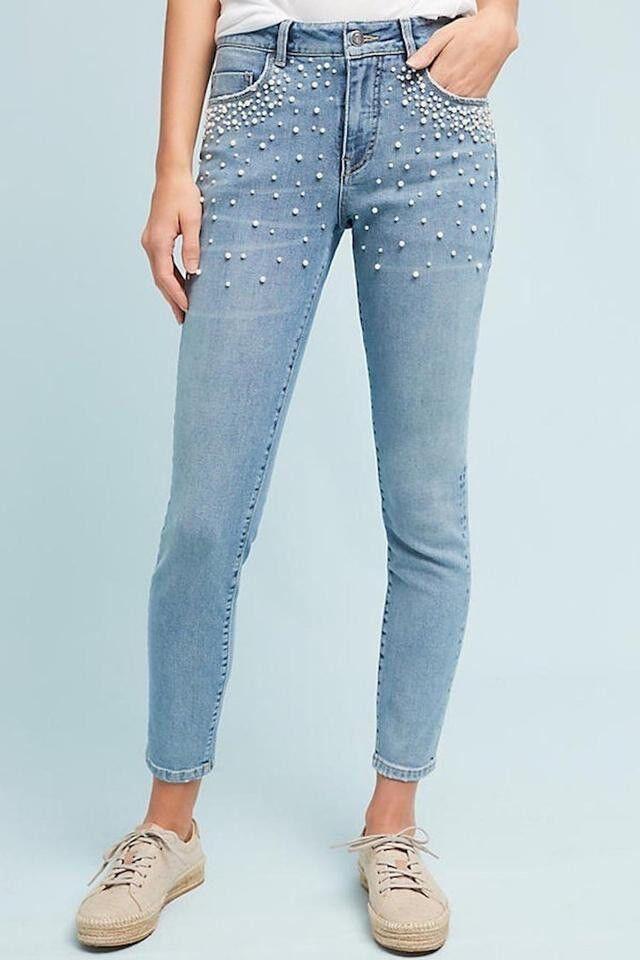 RARE Anthropologie Pilcro Letterpress Script High Rise Pearl Skinny Jeans 29x30