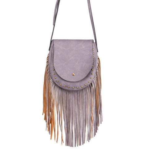Long Tassel PU Leather Ladies Cross Body Bag Rivets Messenger Shoulder Handbag