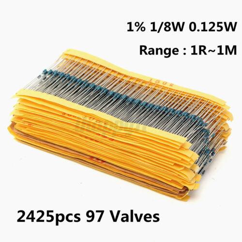 2425pcs 97 Valves 1/% 1//8W 0.125W Metal Film Resistors Assorted Assortment   √