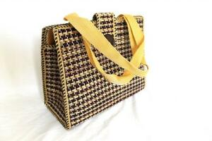 Ladies-Women-Jute-Weave-Handbag-Brown-Square-S
